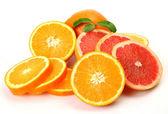 Ripe tangerines and oranges — Stock Photo