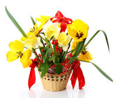 Flowers in a basket — Stock Photo