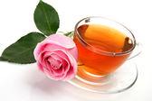 чай и розовые розы — Стоковое фото