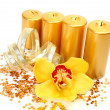 Yellow orchid and candles — Stock Photo #36086159