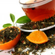 Tea and orange — Stock Photo