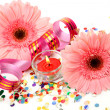 Pink flowers and streamer — Stock Photo #36089899