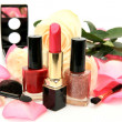 Decorative cosmetics and rose — Stok fotoğraf