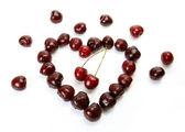Fresh cherry heart — Stock Photo
