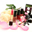 Decorative cosmetics and rose — Stock Photo