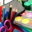 Paints and color pencils — Stock Photo