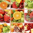 Ripe fruit and berries collage — Stock Photo