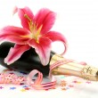 Champagne and pink lily — Stock Photo #36091387