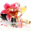 Champagne and pink lily — Foto Stock