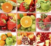成熟的水果和浆果的拼贴 — 图库照片