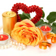 Rose and candles — Stockfoto