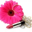 Stock Photo: Pink flower and lipstick