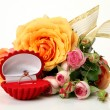 Gold ring and roses — Stock Photo #36906061
