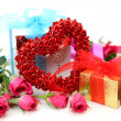 Stock Photo: Roses and gifts