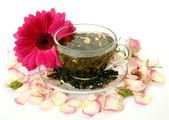 çay ve çiçek — Stok fotoğraf