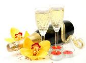 Champagne och orkidé — Stockfoto