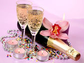 Champagne and orchid — Stock Photo