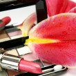 Decorative cosmetics and petals of pink lilies — Photo