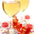 Stock Photo: Wine and candles