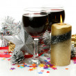 Christmas ornaments and wine — Stock Photo