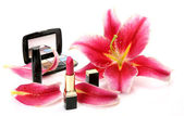 Decorative cosmetics and petals of pink lilies — Foto Stock