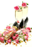 香槟和粉红玫瑰 — 图库照片