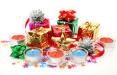 Christmas gifts and ornaments — Stock Photo