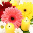 Stock Photo: Flowers and candles