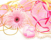 Flowers and ribbons — Stock Photo