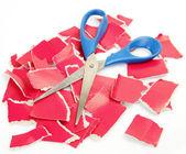 картон и ножницы — Стоковое фото