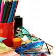 Color pencils and paints — Stock Photo #39942573