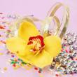 Stock Photo: Yellow orchid and confetti