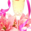 Pink lily and wine — Stock Photo #39944413