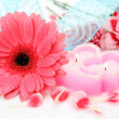 Stock Photo: Flower and candle