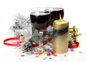 New Year's ornaments and wine — Stock Photo