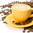 Coffee in a yellow mug — Stock Photo #40939475