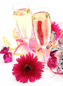 Champagne and sweets — Stock Photo