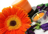 Flores y velas ardientes — Foto de Stock