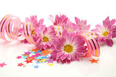 Streamer and flowers — Stock Photo