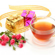 Tea and box with a gift — Stock Photo #42275685