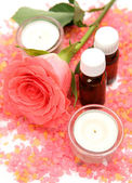 Candles and a rose — Stock Photo