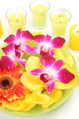 Pink orchid and yellow candles — Stock Photo