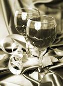 Wine and streamer — Stock Photo