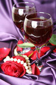 Wine and rose — Stock Photo