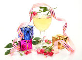 Color boxes and wine — Stock Photo
