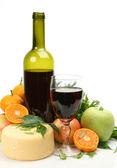 świeże owoce i wino — Zdjęcie stockowe
