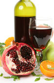 Fresh fruits and red wine — Stock Photo