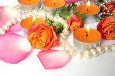 Fine roses and candles  — Stockfoto
