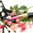 Decorative cosmetics and pink roses — Stock Photo #43586603