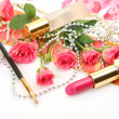 Decorative cosmetics and pink roses — Stock Photo #43588329